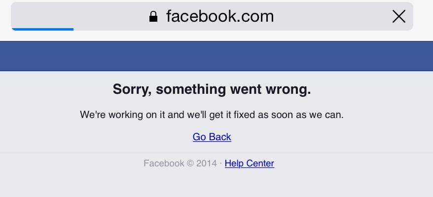 Ecco come si è presentato Facebook per circa un'ora nella mattinata del 27 gennaio 2015