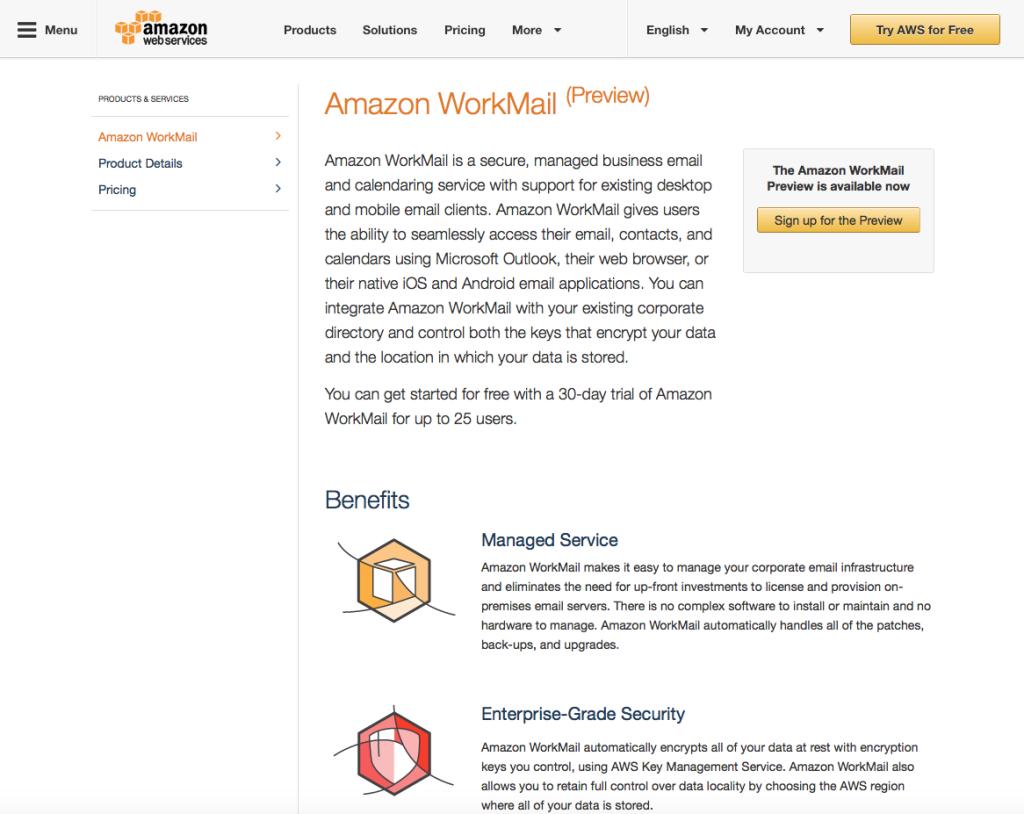 Workmail, il servizio email in cloud di AWS, è compatibile Microsoft Exchange e consente di scegliere la region di archiviazione.