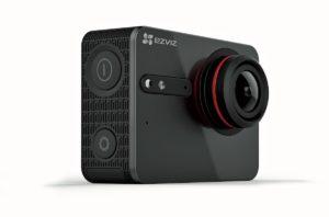 S5plus, la nuova action cam 4K di ezviz. Sul retro ha uno schermo touch.